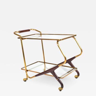 Italian Mid Century brass and mahogany drinks trolley