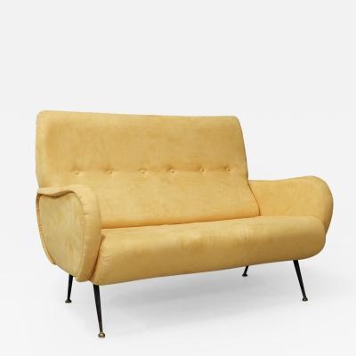 Italian MidCentury Sofa sofa with two seats in yellow velvet Zanuso style 1950