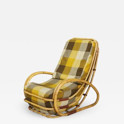Italian MidCentury armchairs in bamboo and fabric plaid 1950s