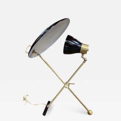 Italian Midcentury Brass and Metal Double Shade Table Lamp 1950s