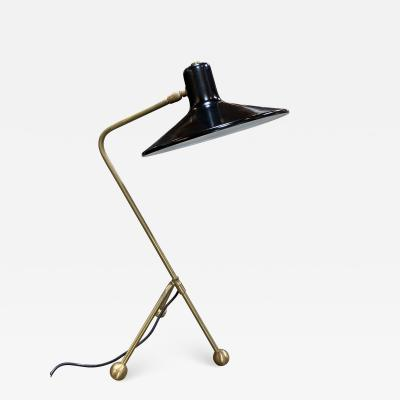 Italian Midcentury Brass and Metal Table Lamp 1950s