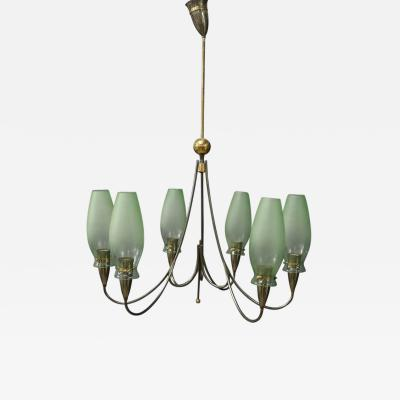 Italian Midcentury Chandelier in Brass and Murano Glass 1950s