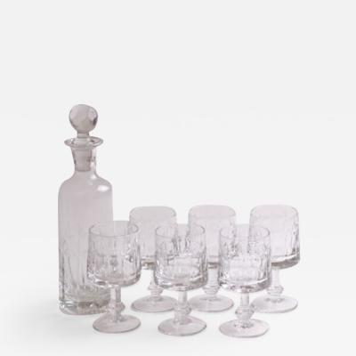 Italian Midcentury Cut Crystal Decanter Glasses