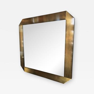Italian Midcentury Octagonal Brass Frame Mirror 1970s