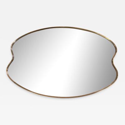 Italian Minimal Curvilinear Brass Mirror 1950s