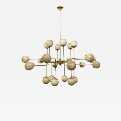 Italian Modern 24 Light Brass Smoked Ivory Gold Murano Glass Round Chandelier