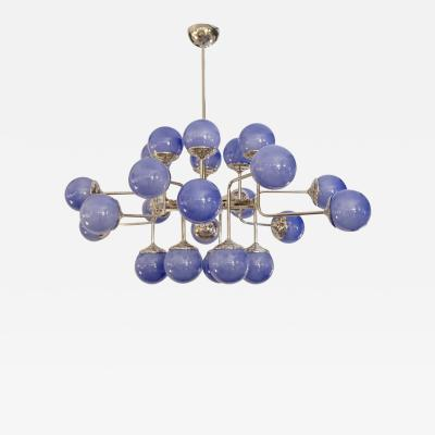 Italian Modern 24 Light Lavender Periwinkle Murano Glass Nickel Chandelier