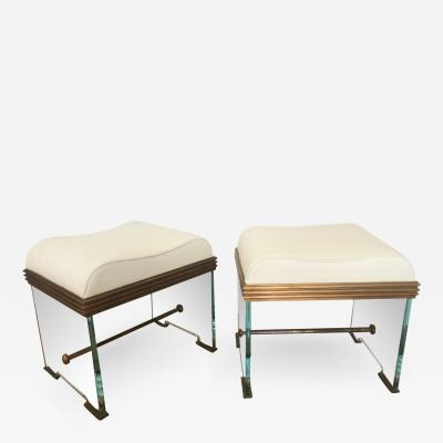 Italian Modern Glass and Bronze Stools