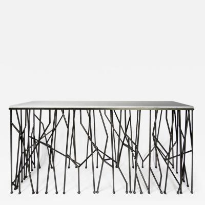 Italian Modern Marble Top Steel Console Memphis Movement