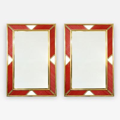Italian Modern Pair of Brass Mirrors with Coral Red Murano Glass Baguettes