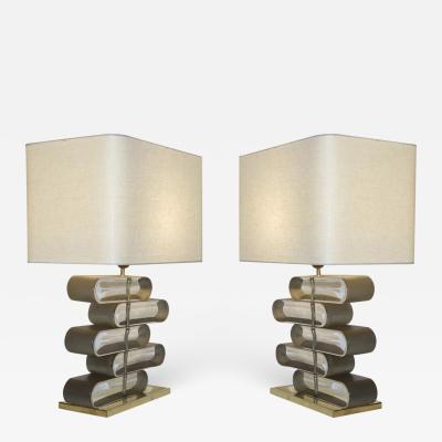Italian Modern Pair of Brass and Bronze Murano Glass Architectural Table Lamps