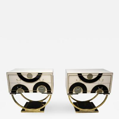 Italian Modern Pair of Geometric Black White and Brass Side Tables Nightstands
