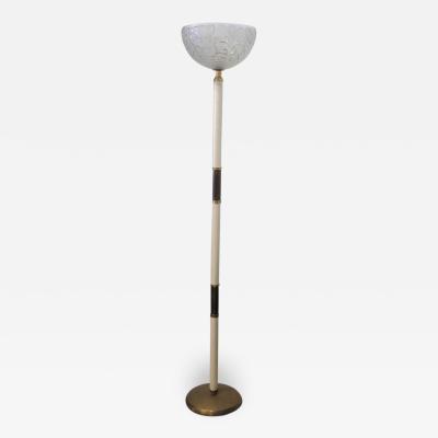 Italian Modern Parchment Brass Glass Floor Lamp 1950s
