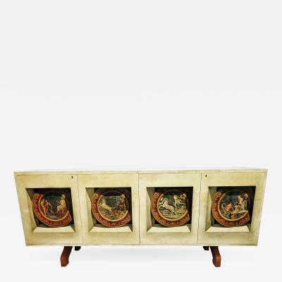 Italian Modern Parchment Palisander and Trompe Loeil Credenza Aldo Tura