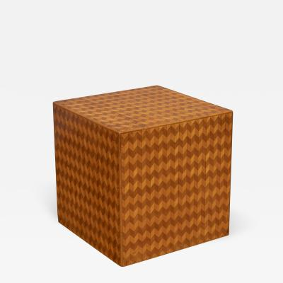 Italian Modern Parquetry Cube Side Table