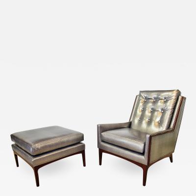 Italian Modern Upholstered Armchair Matching Ottoman 1960s