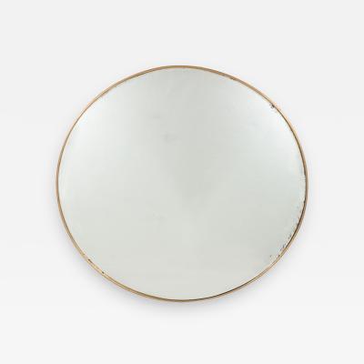 Italian Modernist Brass Framed Round Mirror