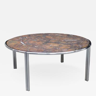 Italian Modernist Cocktail Table with Fossil Marble Top