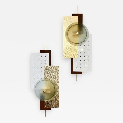 Italian Modernist Gold White Brown Geometric Textured Metal Glass Sconces