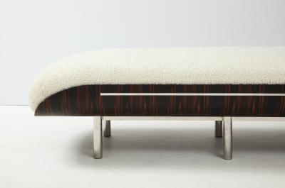Italian Modernist Vintage Macassar Ebony and Chrome Long Upholstered Bench
