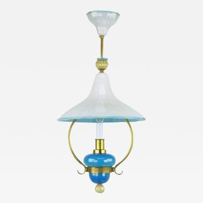 Italian Murano Blue and White Cased Glass Hooded Pendant Chandelier
