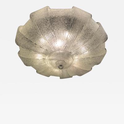Italian Murano Glass Leaves Modern Flush Mount or Ceiling Light