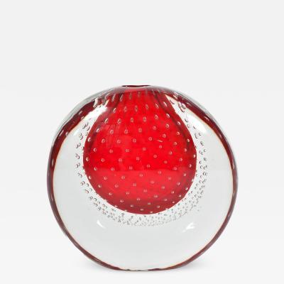 Italian Murano red bubble vase