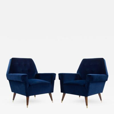 Italian Navy Blue Velvet Lounge Chairs with Splayed Legs