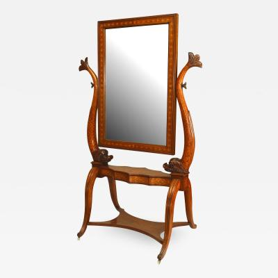 Italian Neo classic Walnut and Inlaid Cheval Mirror