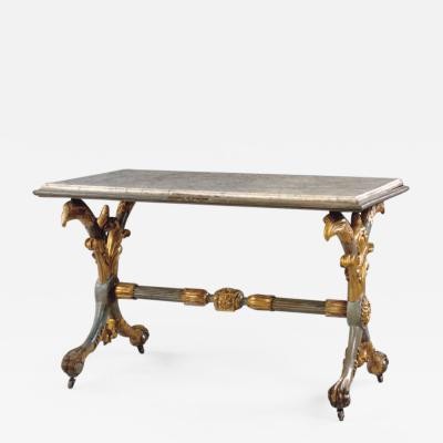 Italian Neoclassical 19th century Painted and Gilt Marble Top Center Table