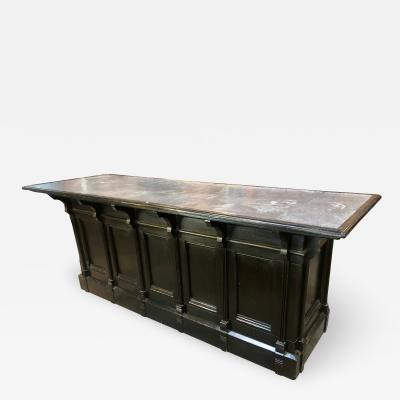 Italian Neoclassical Executive Writing Desk with Zinc Top circa 1960s