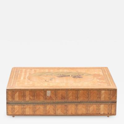 Italian Neoclassical Straw Marquetry Sewing Box Early 19th Century