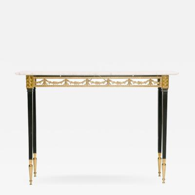 Italian Neoclassical Style Bronze Console Table with Marble Top