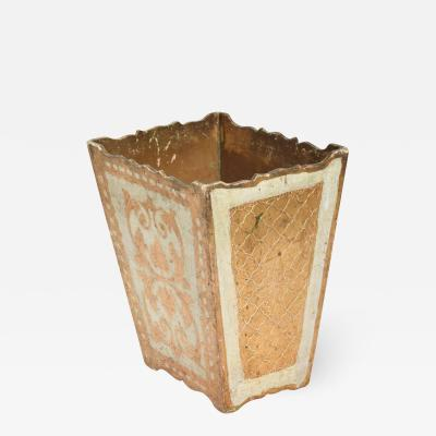 Italian Neoclassical Wood Florentine Gilt Trash Can Waste Basket