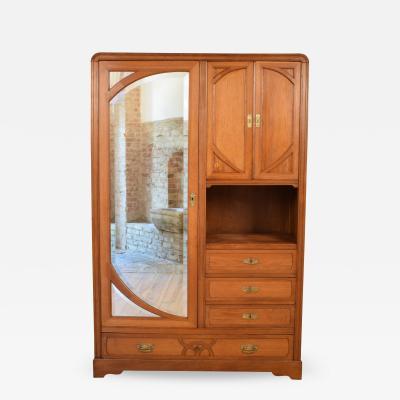 Italian Oak Art Nouveau Cabinet Around 1910