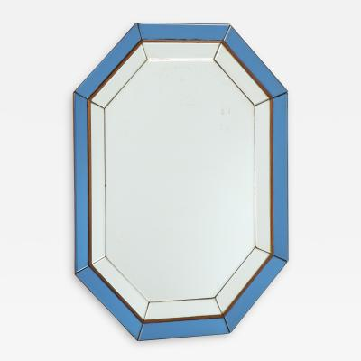 Italian Octagonal Blue and Clear Glass Mirror