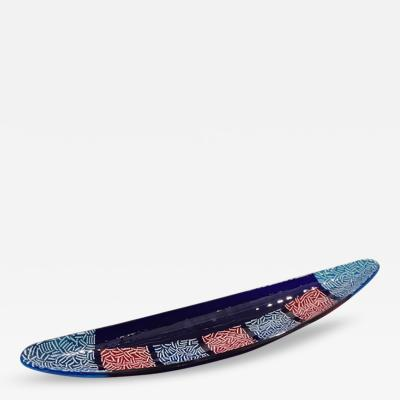 Italian Orientalist Blue and Red Murano Glass Bowl Centerpiece