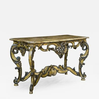 Italian Painted Console Table with Faux Marble Top