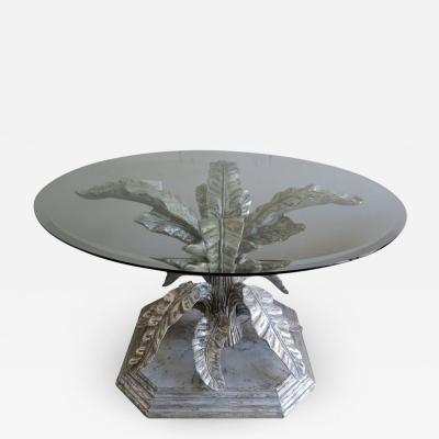 Italian Painted and Silvered Table with Bevelled Glass Top