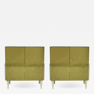 Italian Pair Of Golden Glass Sideboard