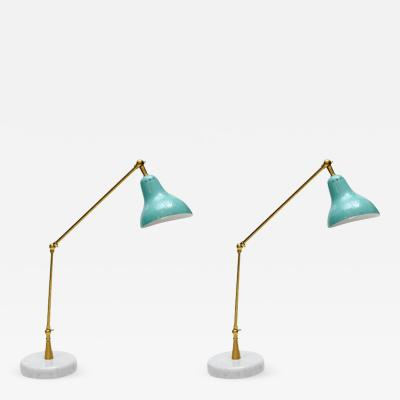 Italian Pair of Teal Cone Articulated Arm Desk Lamps