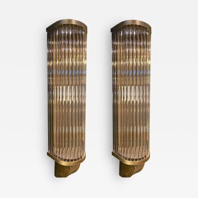 Italian Pair of Tubular Glass Sconces With Brass Italy 1940s