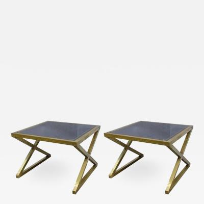 Italian Pair of X Frame Handcrafted Brass and Glass Coffee Side Tables
