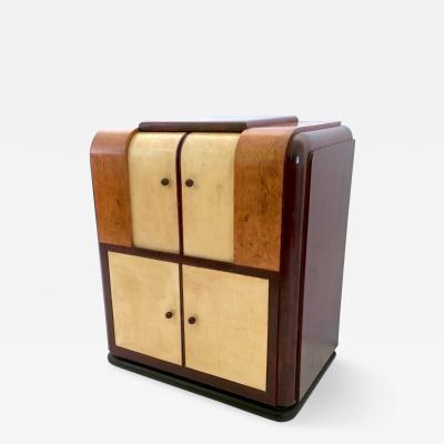 Italian Parchment and Mahogany Bar Cabinet 1930s 1940s
