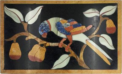 Italian Pietre Dure Panel of Parrot on Branch Late 17th Century