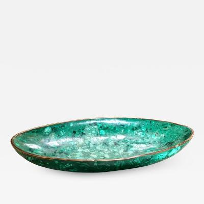 Italian Polished Green Marble Oval High Sided Brass Bowl 1960s