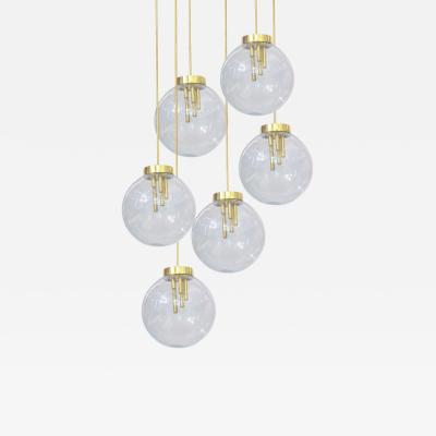 Italian Pulegoso Glass Brass Chandeliers Six Available