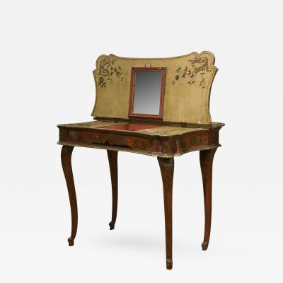 Italian Red Lacquered Lift Top Dressing Table