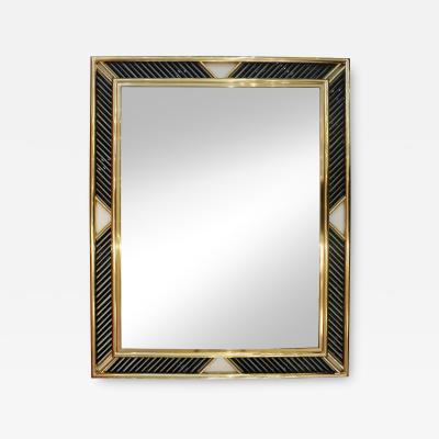Italian Regency Brass Geometric Mirror with Black Murano Glass Baguettes