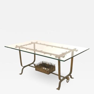 Italian Renaissance Gilt Iron and Glass Coffee Table